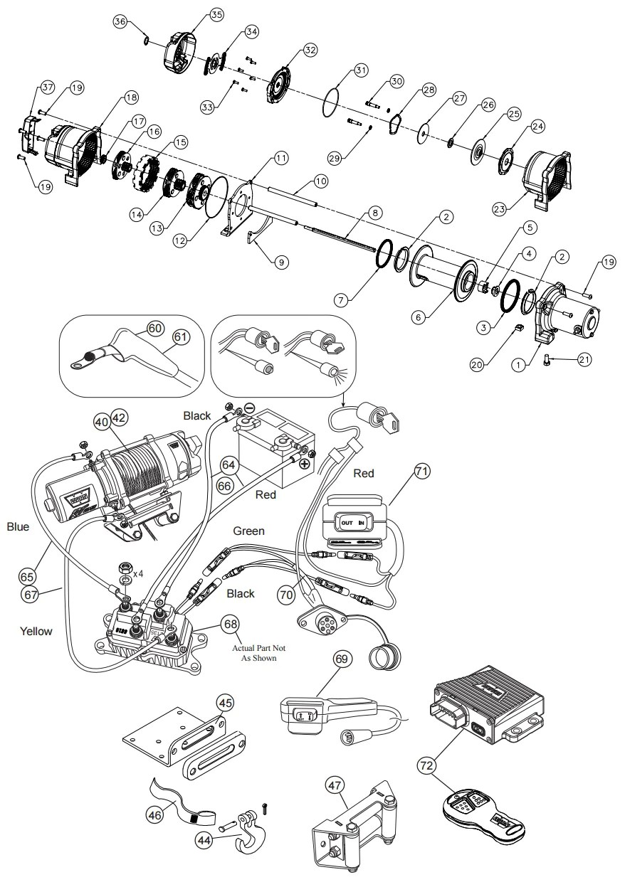 hight resolution of warn xt 40 and rt 40 winch parts