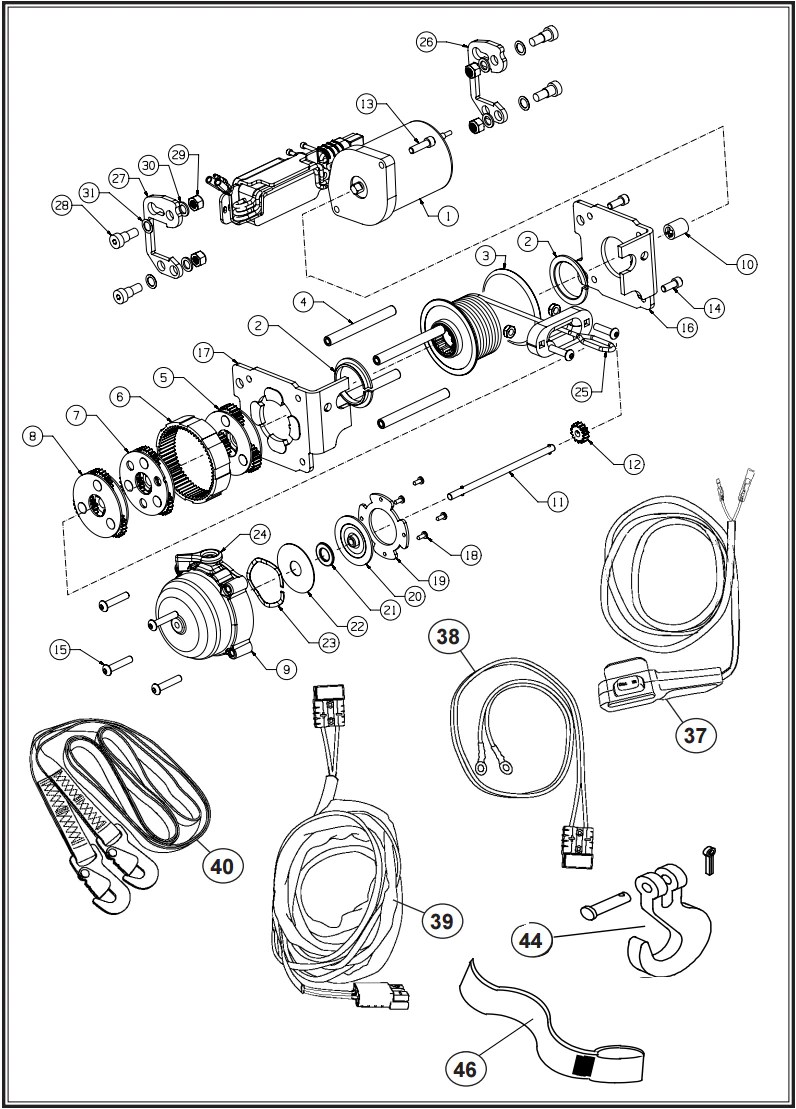 hight resolution of warn xt rt 15 winch parts