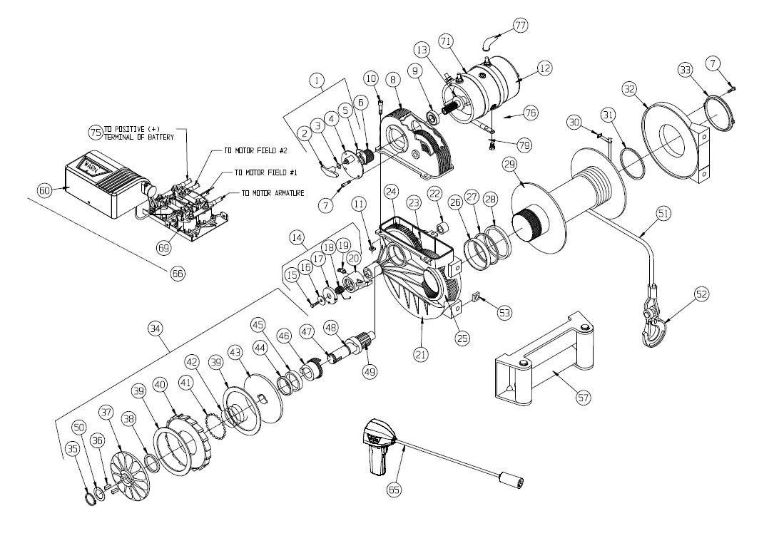 warn m8274 truck winch exploded view [ 1099 x 762 Pixel ]