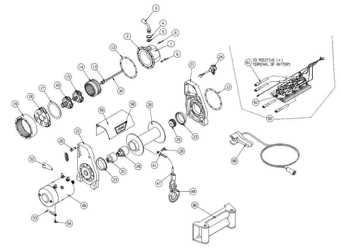 medium resolution of warn xd9000i truck winch exploded view serial 606136 up