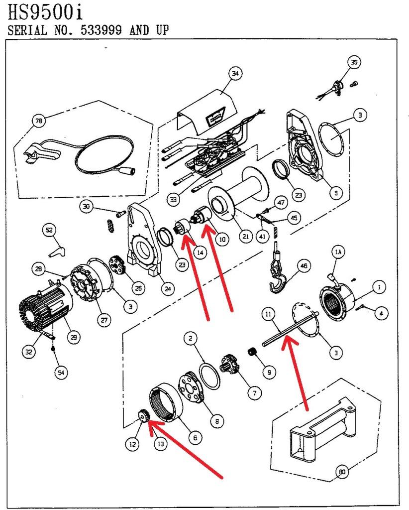 hight resolution of warn 100165 winch brake assembly kit for hs9500 hs9500i u2013 montana kensun wiring diagram
