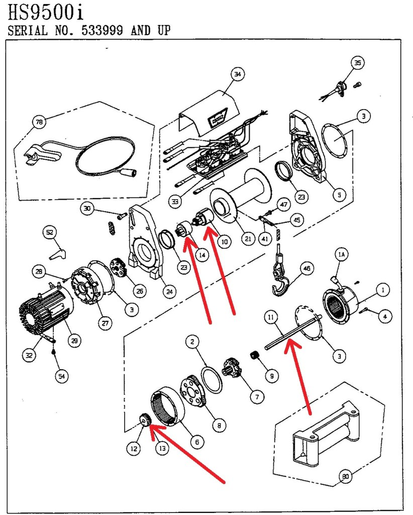 warn 39438 winch brake assembly for hs9500i [ 822 x 1024 Pixel ]