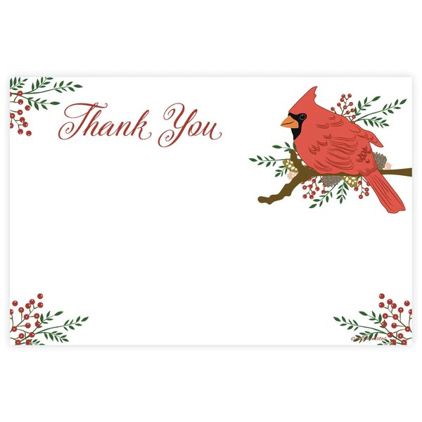Cardinal Christmas Holiday Thank You Note Cards Madison