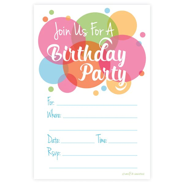 Bright Adult Or Teen Birthday Fill In Invitations Mamph