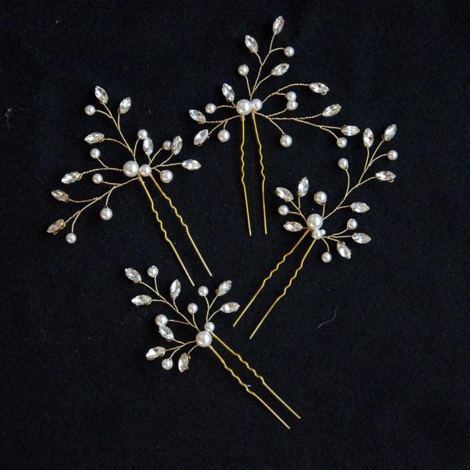 set of 3 swarovski pearls and crystals bridal hair pins, for various hairstyles