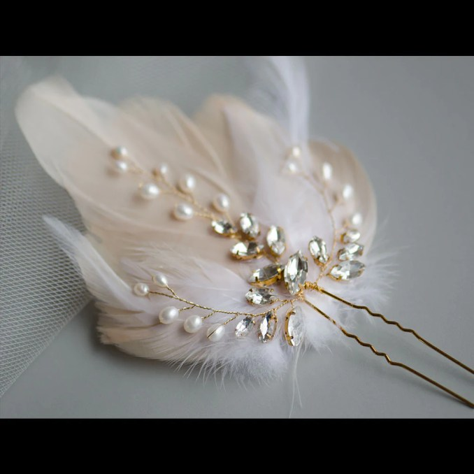 beige feather fascinator with natural pearls and navette crystal vine bridal pin