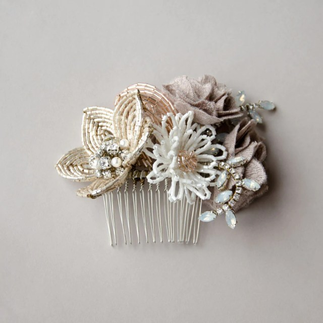 rustic flower cluster wedding headpiece, french beaded flower hair comb