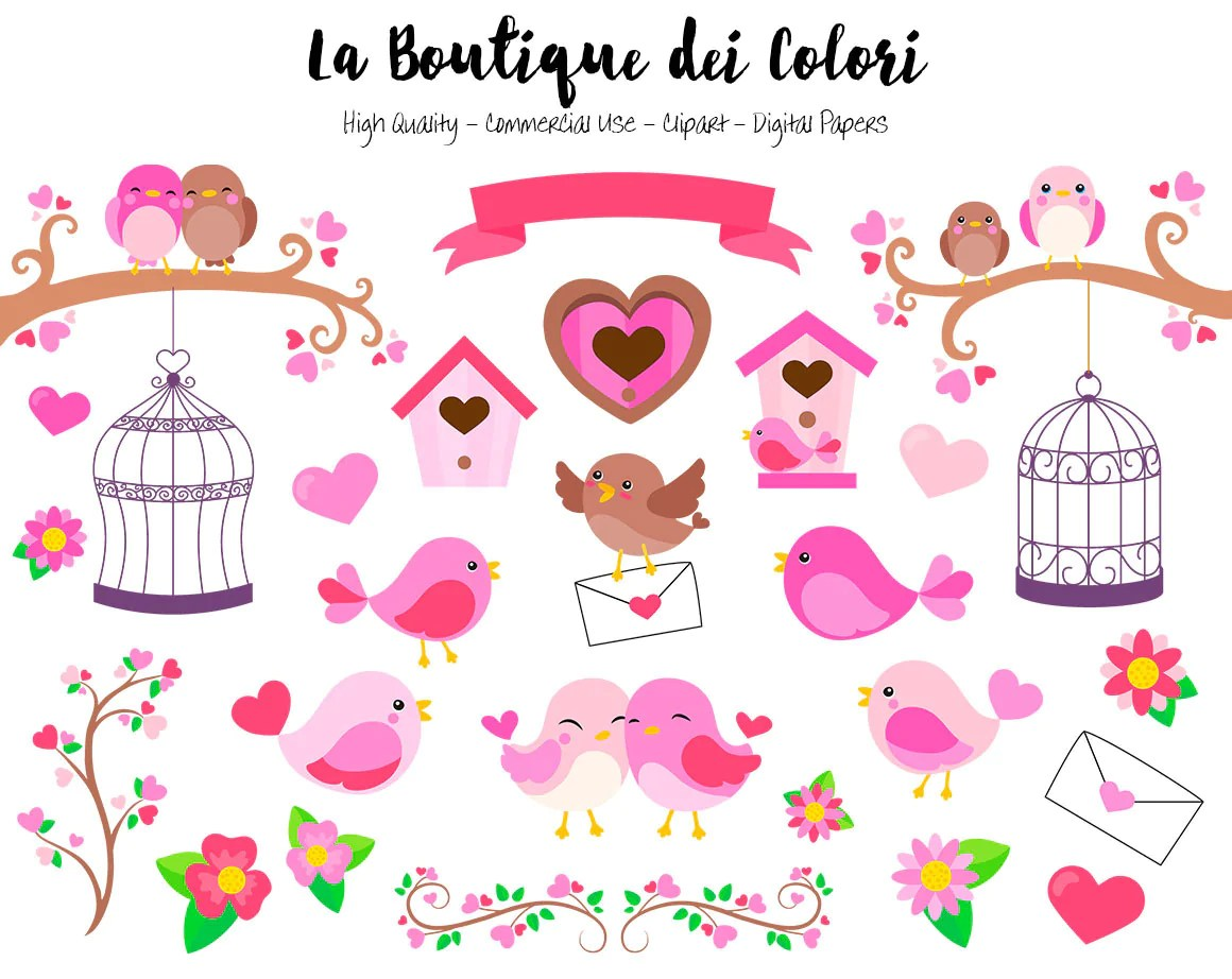 pink valentine s day birds clipart cute digital graphics png and love birds clip art [ 1160 x 922 Pixel ]