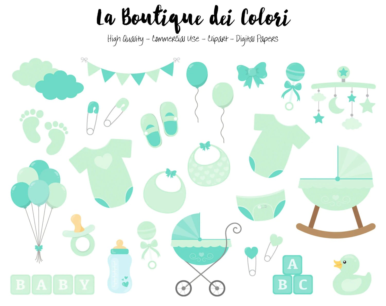 mint baby shower clipart la boutique dei colori [ 1500 x 1192 Pixel ]