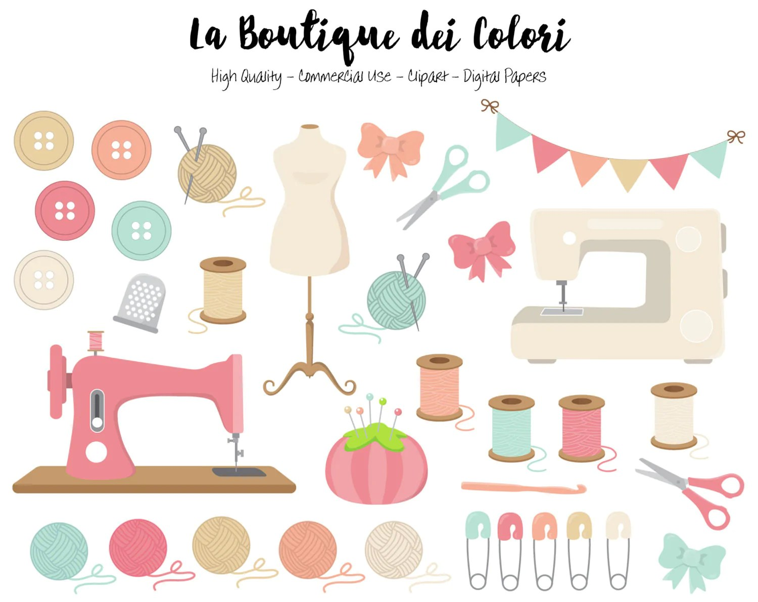 hight resolution of pink and blue sewing clipart la boutique dei colori