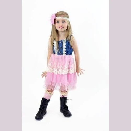 Elis Denim Ruffle Pink Girl Toddler Dress Denim Girl Dress