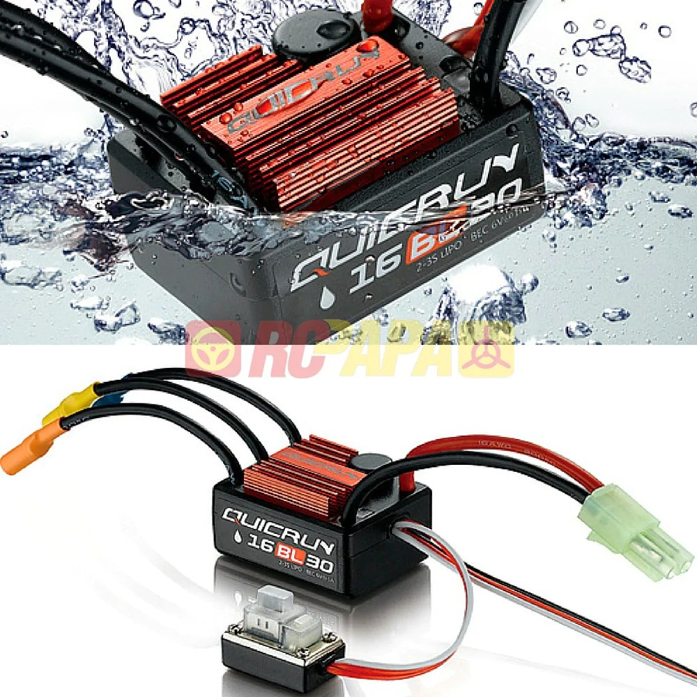 hobbywing quicrun waterproof brushless esc 30a 16bl30 for 1 16 1 18 rc  [ 1000 x 1000 Pixel ]