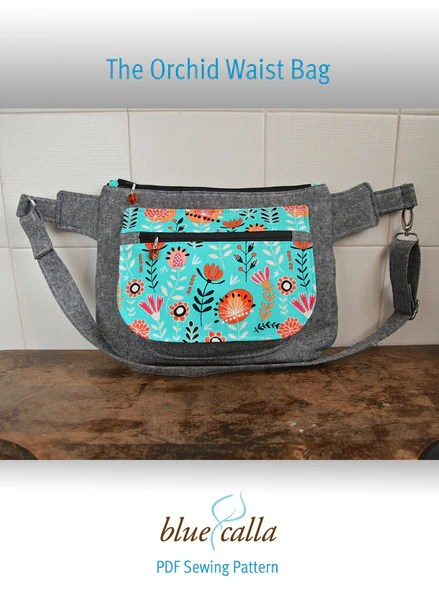 The Orchid WaistSling Bag  PDF Sewing Pattern  Blue Calla Patterns