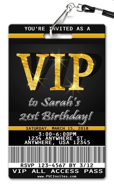 VIP Pass Birthday Invitation PVC Invites VIP Birthday