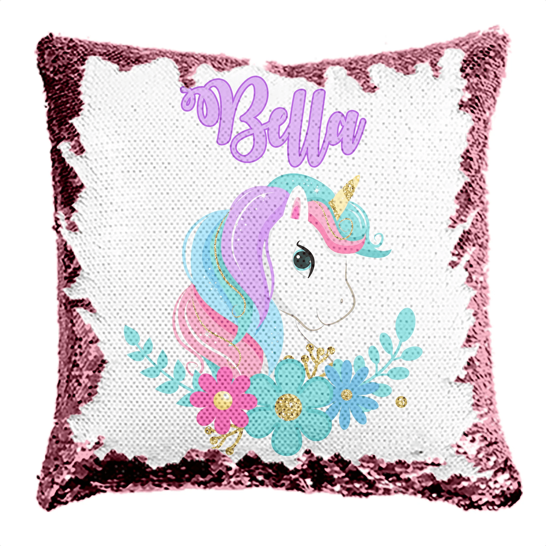personalized unicorn reversible sequin flip pillow 6 designs and colors to choose from
