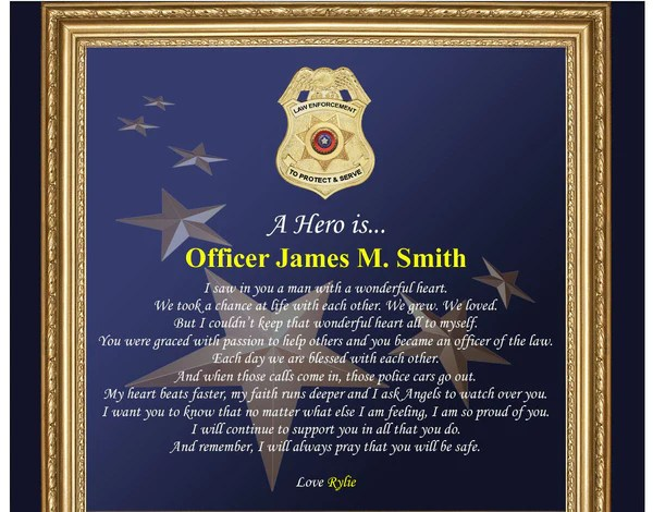 Law Enforcement Gift Policeman Sheriff Plaque Love
