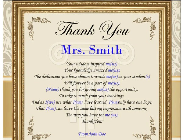 thank you letter to teacher