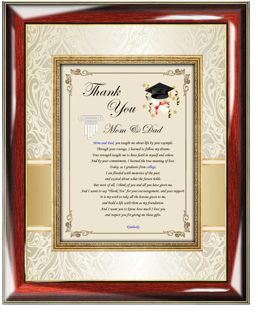 Thank You Graduation Ts Frame Mom Dad College Parents
