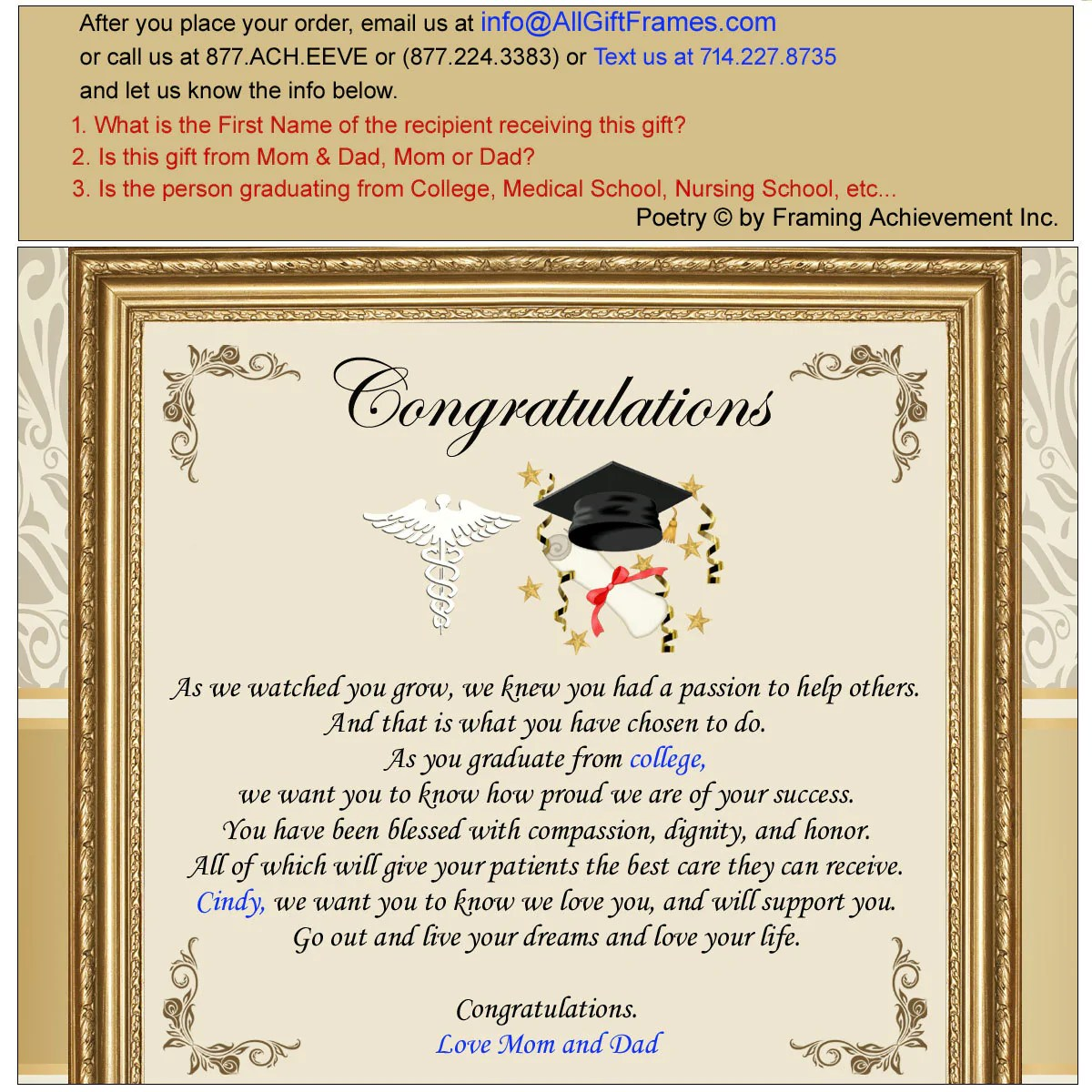 Medical School Graduation Gift Personalized Present New