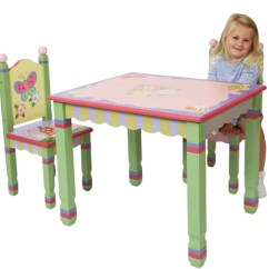 Wooden Kids Chairs Slipcover Wingback Chair Magic Garden Table And Two Set