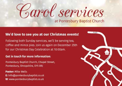 Christmas Carol Service Invitation Cards A6 TruthVine