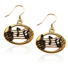 disc with musical notes charm earrings from Blair