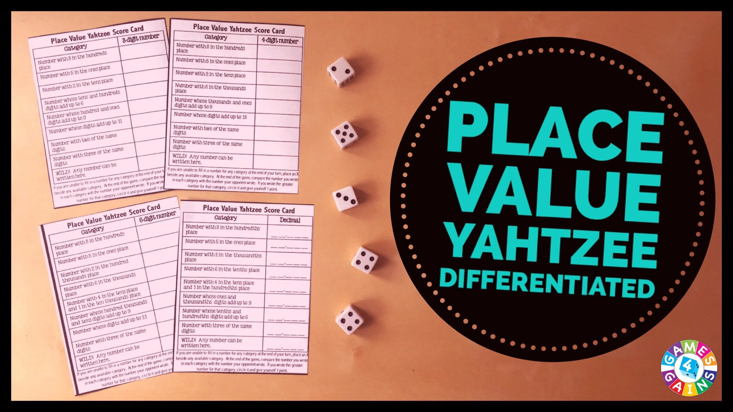 Score Some Points With Place Value Yahtzee Games 4 Gains
