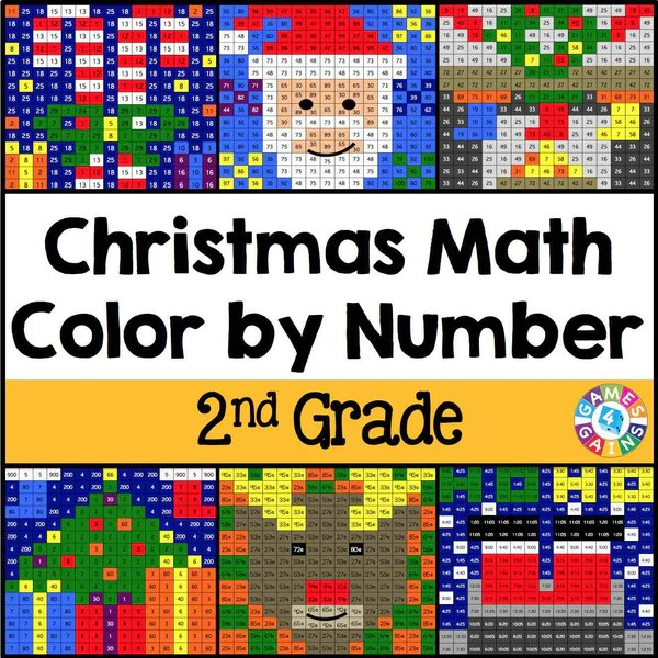 Christmas Math ColorbyNumber  2nd Grade  Games 4 Gains