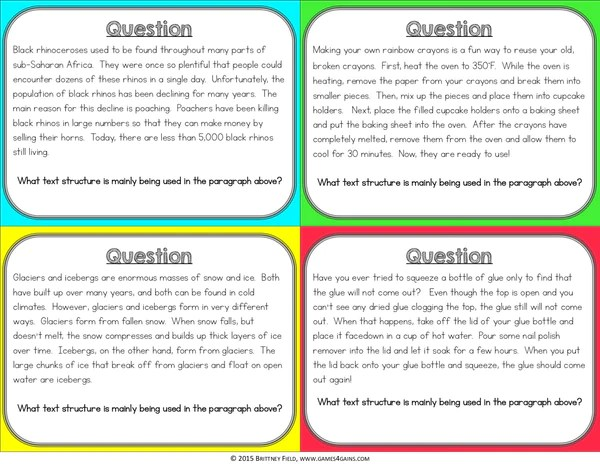 Text Structures Board Game – Games 4 Gains
