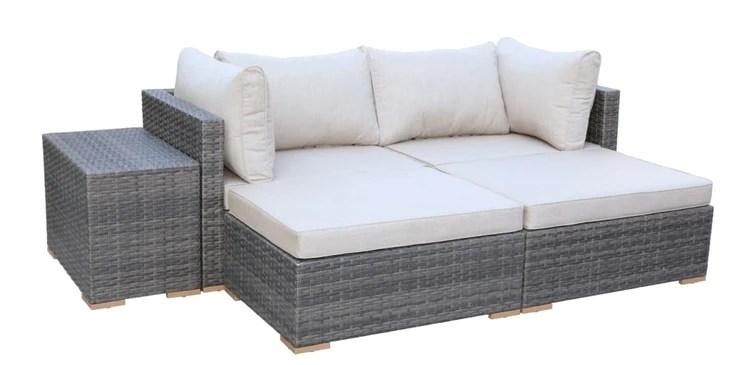 5 piece all weather patio furniture set sunbrella uv fabric gray blue
