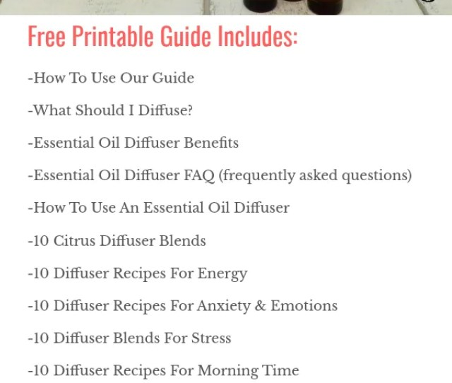 Free Printable Essential Oil Diffuser Blends Recipe Guide