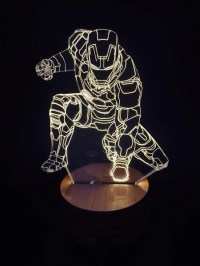 3D Iron Man Wood Mood LED Lamp Bulbing Light
