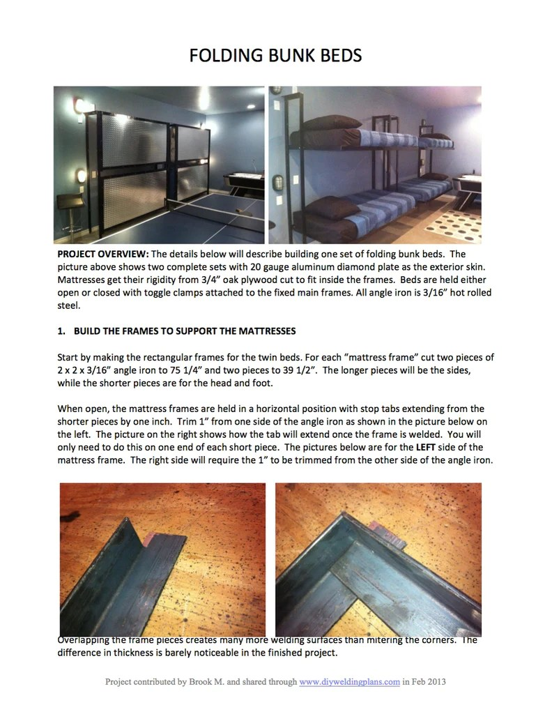 Folding Bunk Bed Plans Diy Welding Plans