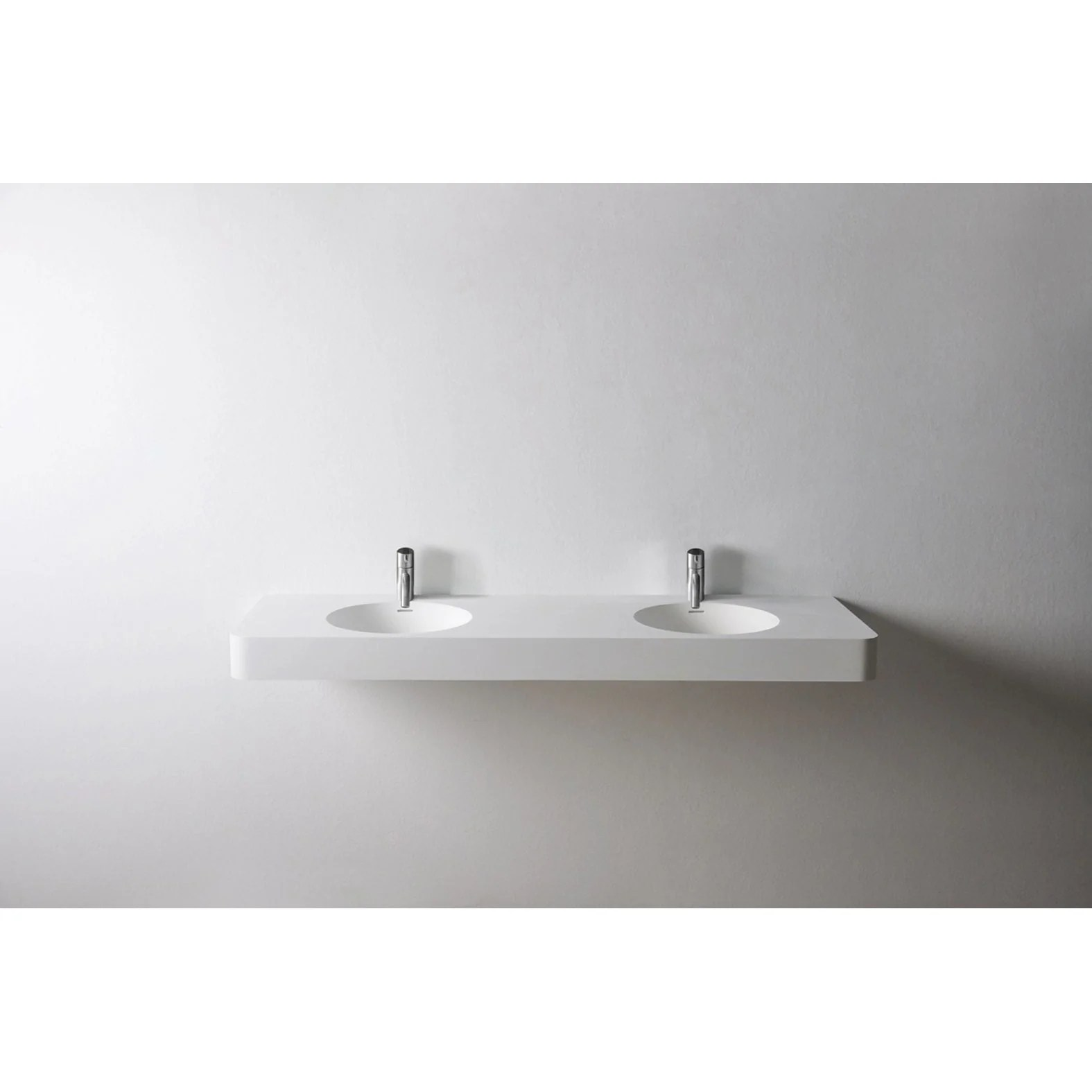 solidbrio 59 in wall mounted double sink bathroom vanity white solid surface
