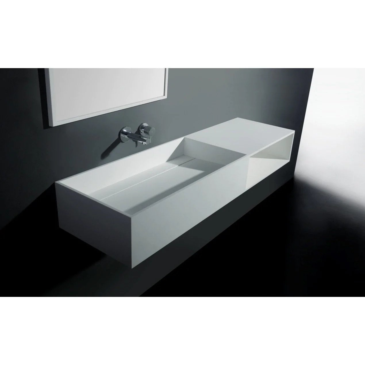 solidpure 55 in wall mounted single sink bathroom vanity with one shelf white solid surface