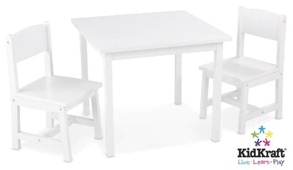 kidkraft aspen table and chair set modern style adirondack chairs - white 21201