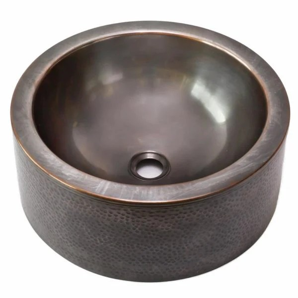 hamat for 15rves ac antique copper round vessel sink with apron