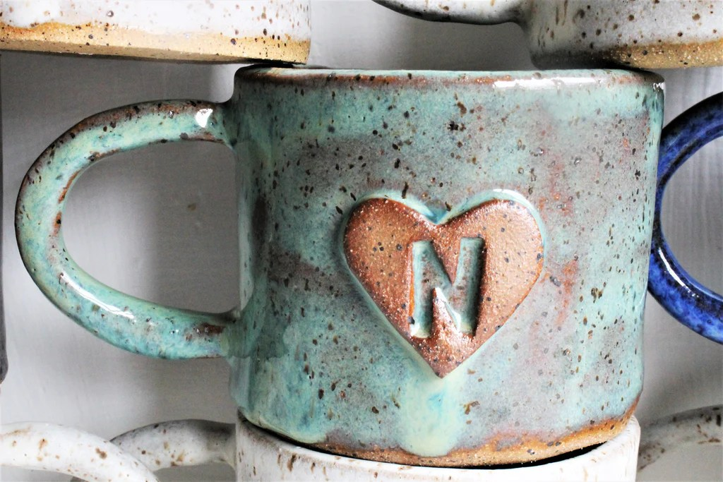 monogram cup personalized stoneware