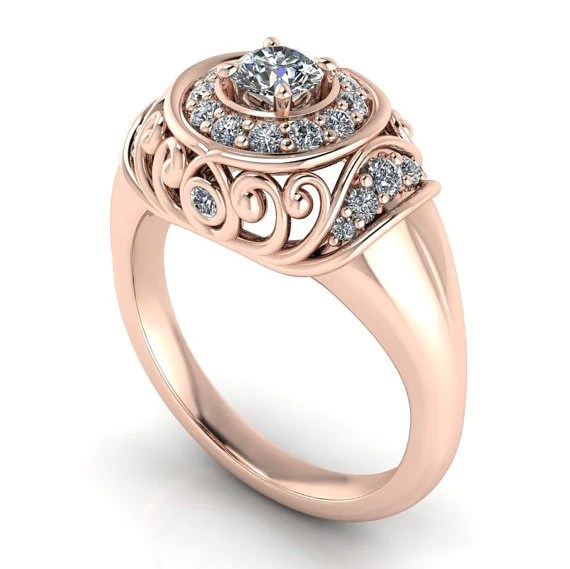 Vintage Style Rose Gold Engagement Ring  The Quest