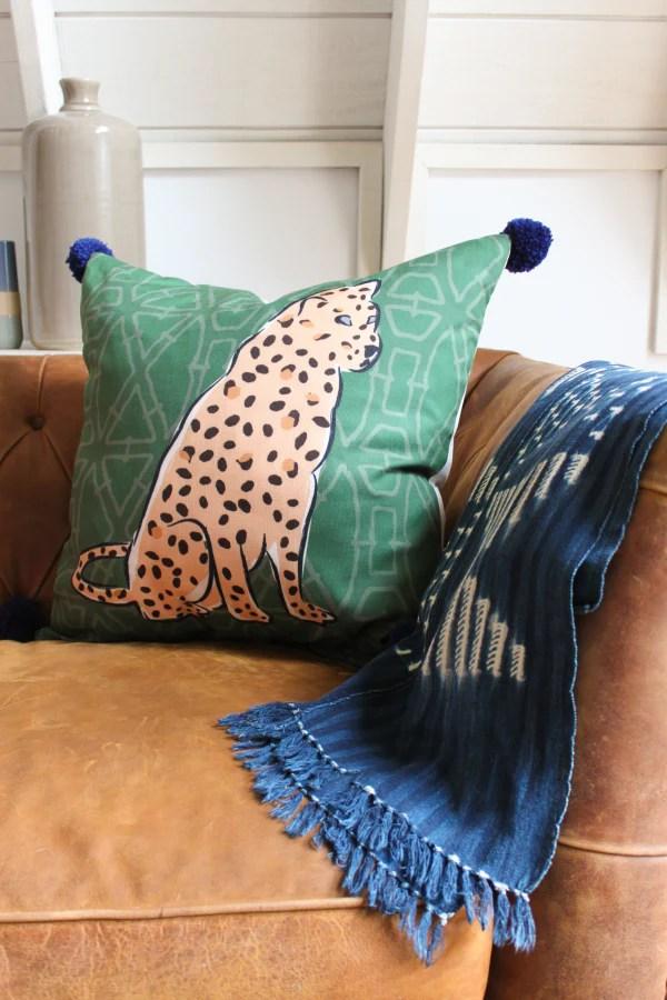 leopard pom pom pillow cover