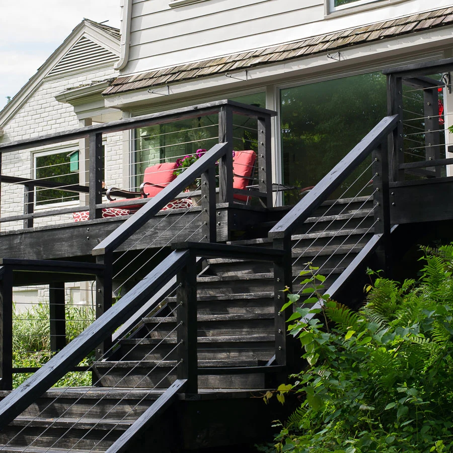 Cable Bullet Cable Rail System Hidden Cable Rail Tensioners | Wood And Cable Stair Railing | Dark | Diy | Exterior Irregular Stair | Residential | Forgings