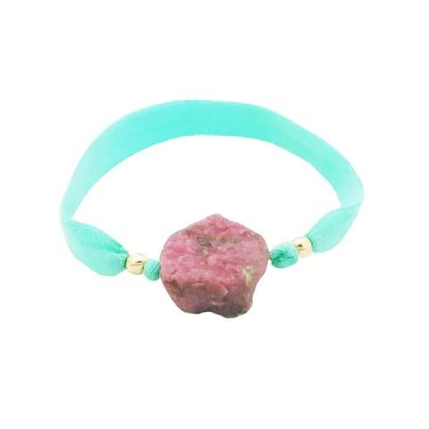 Bracelet élastique et pierre semi précieuse brute Rhodonite