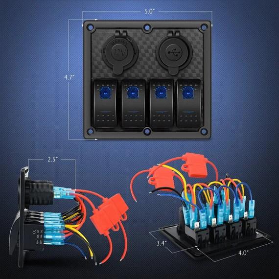 nilight 4 gang rocker switch panel waterproof prewired