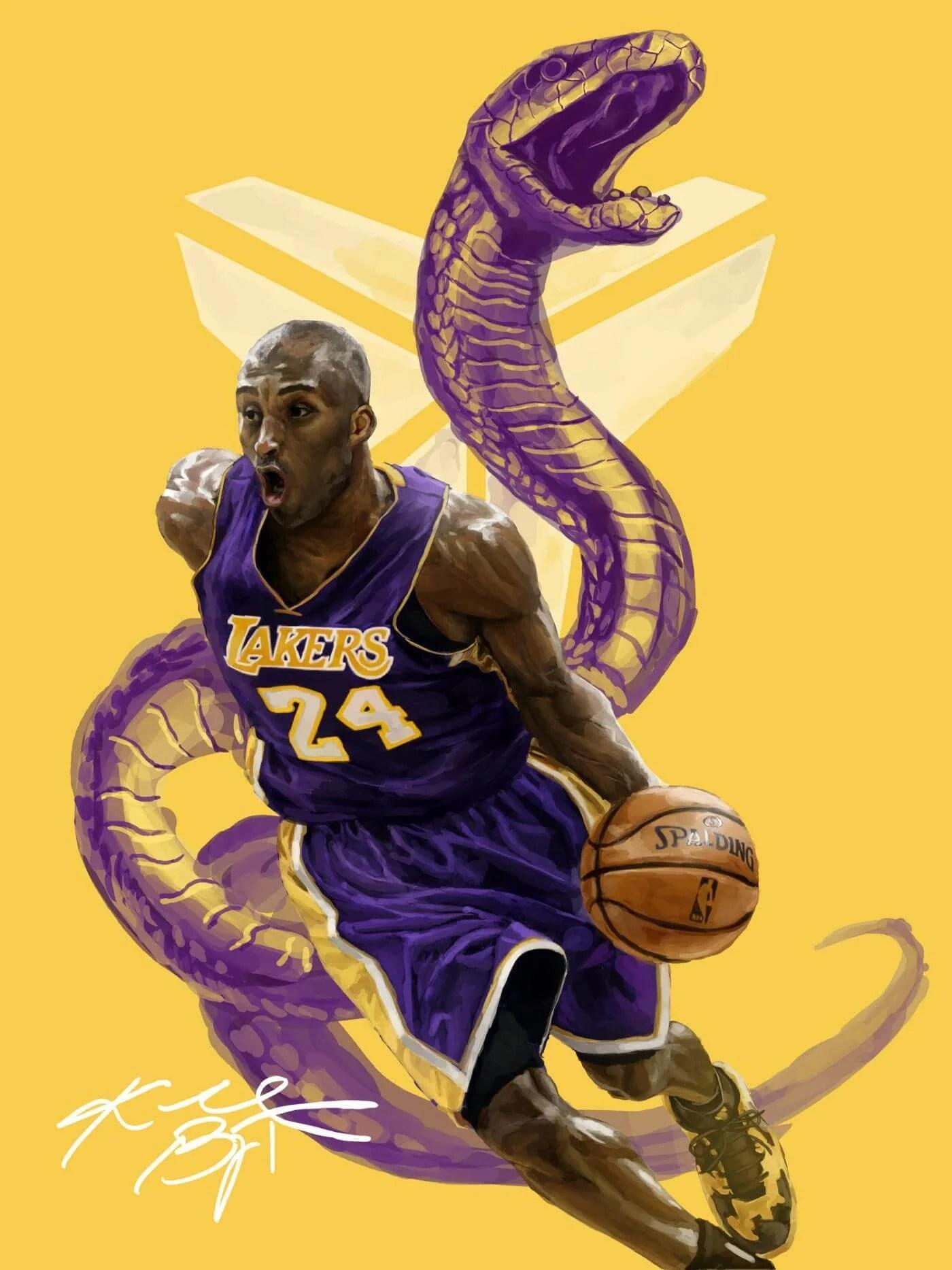 kobe bryant la lakers black mamba nba basketball great fan art poster posters