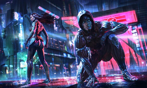 Overwatch Girls Extended Wallpaper Cyborg Clothing Augmentation For The Cyberpunk Universe