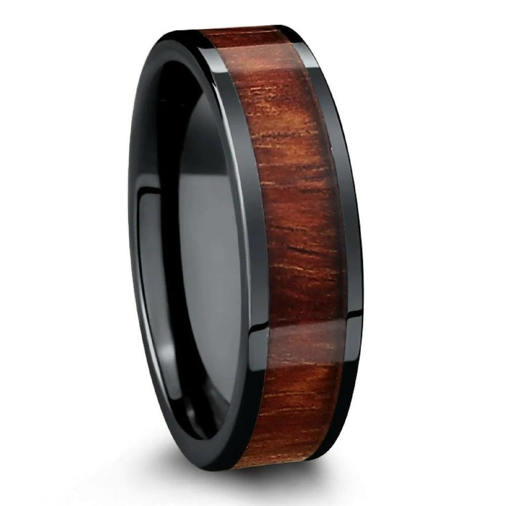 wood wedding band crafted with black high tech ceramic koa wood 6mm