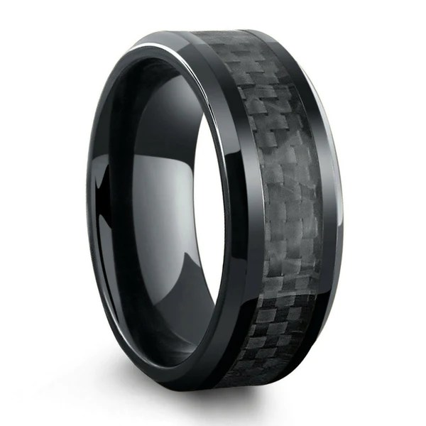 All Black Titanium Ring Mens Wedding Band With Carbon