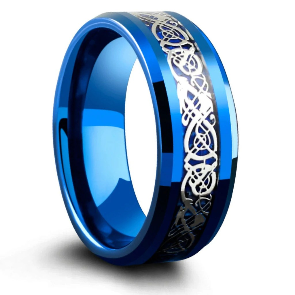 Blue 8mm Tungsten Carbide Ring With Silver Celtic Inlay