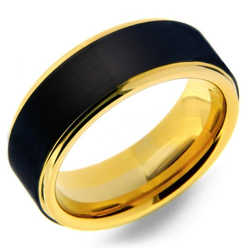 Mens 8mm Tungsten Carbide Ring With Black Matte Finish