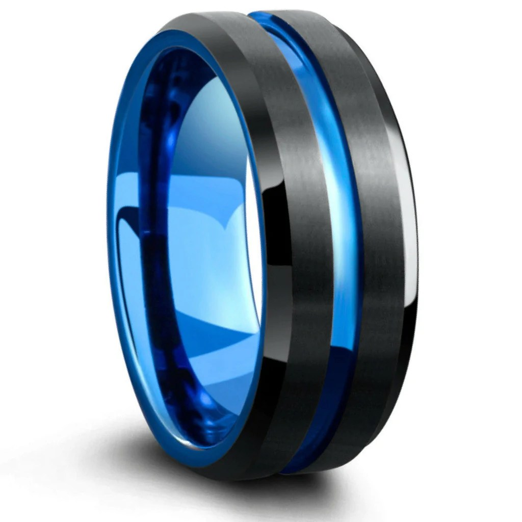 mens tungsten wedding band with carved blue channel two tone